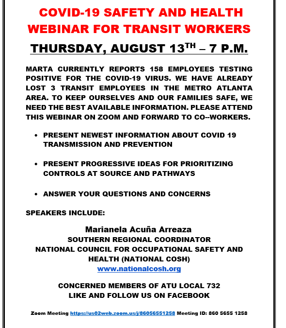 COVID-19 Safety & Health Webinar for Transit Workers